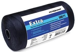 Нить капроновая черная Extra диаметр 1,40 мм, 210d/33, тест 45 кг, вес 500 гр, длина 570 м.