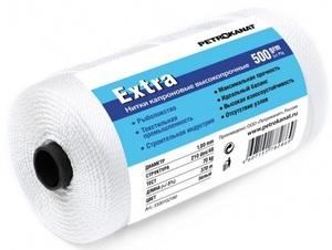 Нить капроновая белая Extra диаметр 1,40 мм, 210d/33, тест 45 кг, вес 500 гр, длина 570 м.