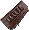 Патронташ ХСН приклад,  VIP коричневая кожа, на 6 патронов - 12 и 16 калибра