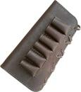 """Патронташ ХСН приклад,  """"люкс"""" коричневая кожа, на 6 патронов - 12 и 16 калибра"""